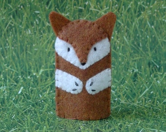 Fox Finger Puppet - style 2 - Woodland Fox Puppet - Felt Fox Finger Puppet - Fox Animal Puppet
