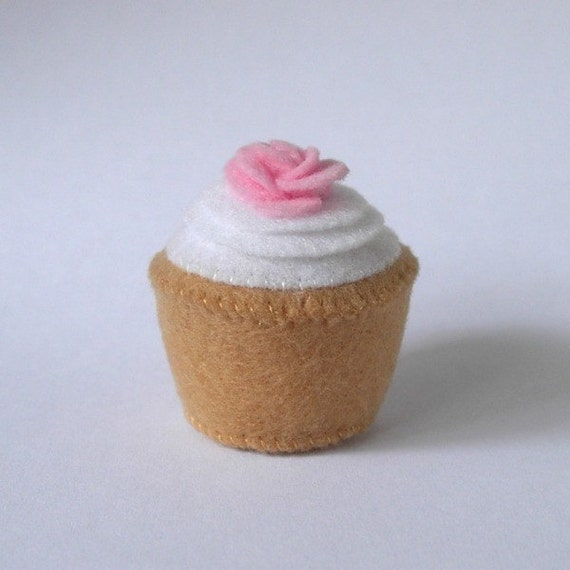 Mini Plush Cupcake White Frosted with Pink Rose - Felt Cupcake - Plush Cupcake - Faux Food Cupcake