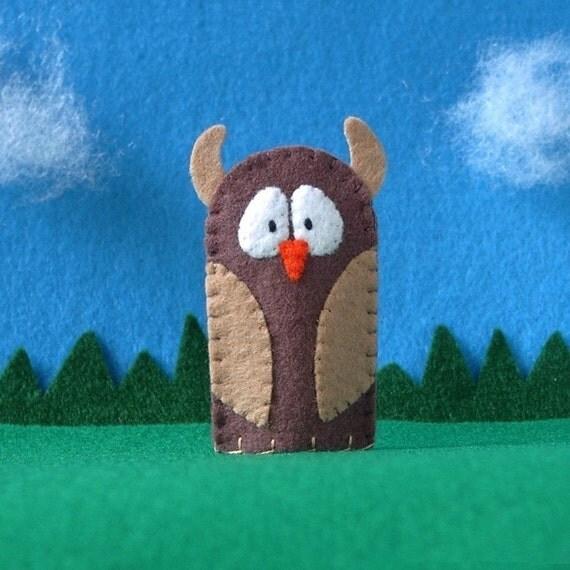 Brown Owl Finger Puppet - Woodland Owl Puppet - Felt Owl Finger Puppet - Halloween Toy Finger Puppet - Felt Bird Puppet