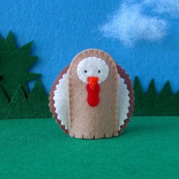 Turkey Finger Puppet - Felt Bird Puppet Turkey - Felt Turkey Puppet - Thanksgiving Finger Puppet