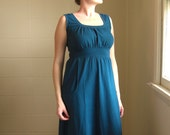 Womens Long Maxi Dress with Pockets, cotton jersey gathered scoop neck empire waist - made to order