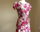 Womens Red Floral Print Shift Dress - Made to Order