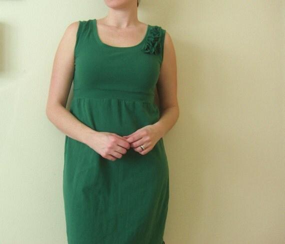 Womens Sleeveless empire tank dress with Cascading Petals summer dress sundress emerald green dress flower petal corsage made to order