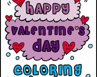 PDF Printable Digital Coloring Book Valentines Day