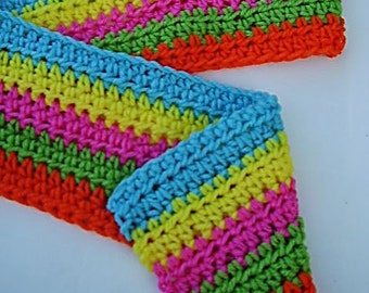Fivefold Brights Striped Scarf - Neon Scarf - Crochet Scarf - Striped Scarf - Multicolor Scarf - Ready to Ship
