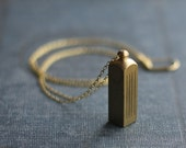 Secret Stash Vintage Brass Canister Vial Necklace