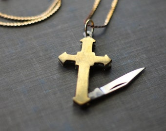 Cross Pocket Knife Necklace Gold Brass Religious Symbol