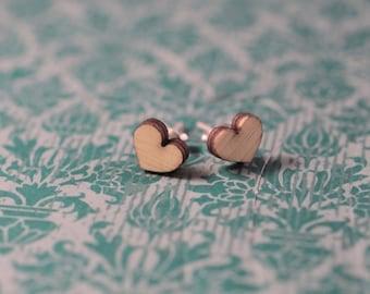 Wood Heart Earring   Wood Heart Earrings   Heart Earrings   Wood Earring Stud   Rustic Wedding Earrings   Hypoallergenic Earring Stud