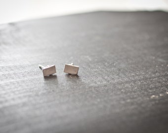 simple rectangle - Tiny Rectangle Stud Earrings-Simple Modern Stud Earrings-Sterling Silver-Handmade-Everyday Jewelry-Great Gift for Him/Her