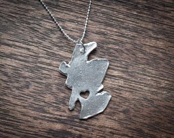 i heart Scotland Fine Silver Scotland Necklace Scotland Necklace Sterling Silver Scotland Country Necklace Hand Cut USA