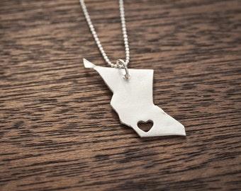 i heart British Columbia Necklace - Silver - Columbia Country Necklace Love Canada BC Necklace British Columbia Necklace Map Necklace