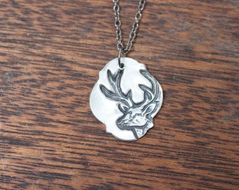 white tail necklace - deer necklace - deer jewelry - antler jewelry - antler necklace - buck necklace - buck charm - deer pendant