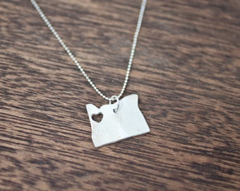 i heart Oregon State Necklace - Silver - Oregon Necklace OR Portland Eugene Tigard With Heart Pendant West Coast College Heart Map