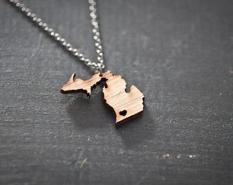 Michigan State Necklace - Bamboo - Michigan Necklace MI State Necklace Michigan with Heart State Charm I love Michigan LP UP MItten Charm