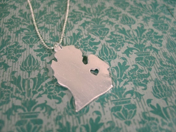 i heart Michigan State Necklace Silver Michigan Necklace Michigan With Heart State Charm Mitten Custom Map State Necklace Personalized