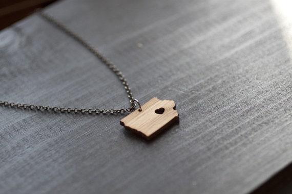 Iowa State Necklace - Bamboo - I Heart Iowa Necklace - Iowa Pendant Iowa Necklace State Charm Map necklace Iowa State Necklace Wooden