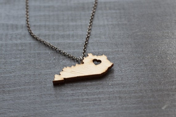 bamboo kentucky state necklace wooden kentucky necklace by