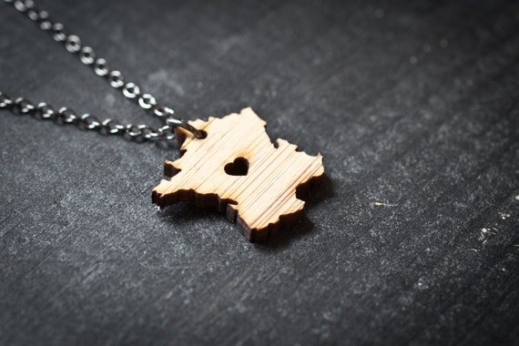 i heart France Necklace - Bamboo - Wooden France Charm France Country Necklace Frances France Map Jewelry Paris