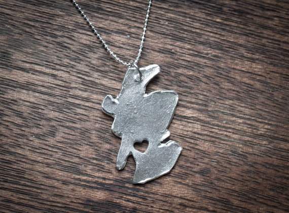 i heart Scotland Fine Silver Scotland Necklace Scotland Necklace Sterling Silver Scotland Country Necklace Hand Cut USA