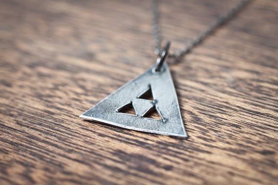 TeePee Geometric Triangle Necklace - Triangle Necklace - Geometric Necklace - Bohemian Jewelry - Bohemian Necklace - Long Triangle Necklace