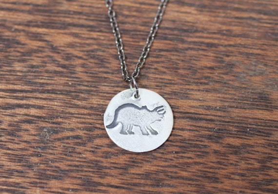 sarah the dino necklace - Triceratops necklace - Triceratops jewelry - dinosaur necklace - dinosaur jewelry - Triceratops charm - dino charm