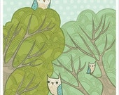 OWLS art print POLKA DOT owl by Susie Ghahremani, tree treetop owl artwork - baby nursery art