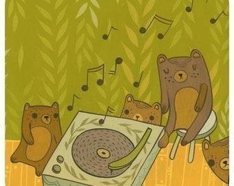 Woodland Music Print - Woodland Nursery Artwork - Woodland Animals Bear Art