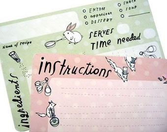 Woodland Animals Recipe Card Pack, 4x6 pink green recipe cards, bunnies squirrels spring
