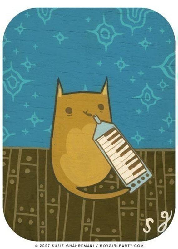 MELODICA CAT art print / melodica art animal art cat music art print - musical instrument - music animals art for kids room