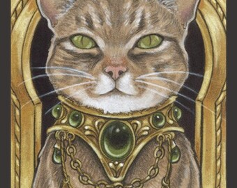 Bejeweled Cats 4 Signed Art Print-You Choose-2.5x3.5, 5x7 or 8x10 In., Spangled Breed Striped Feline Fantasy Art Natalie Ewert