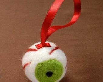 SALE 30% OFF - Green Eyeball Ornament - Funny Christmas - Eye