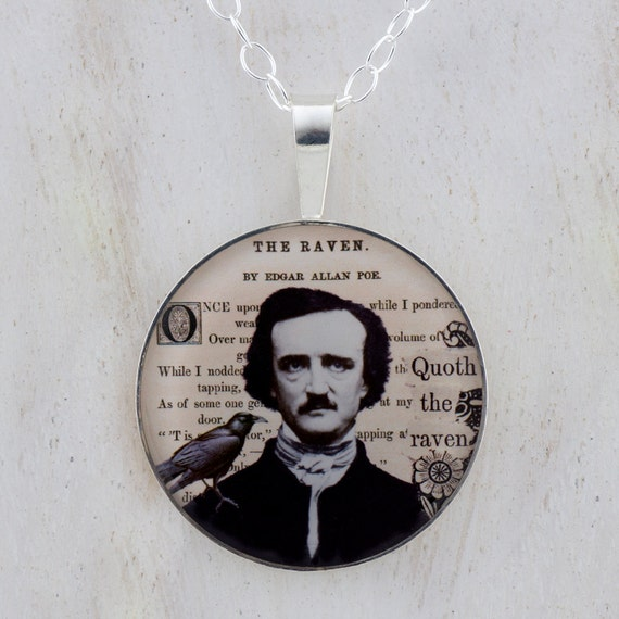 Edgar A. Poe and The Raven Sterling Pendant