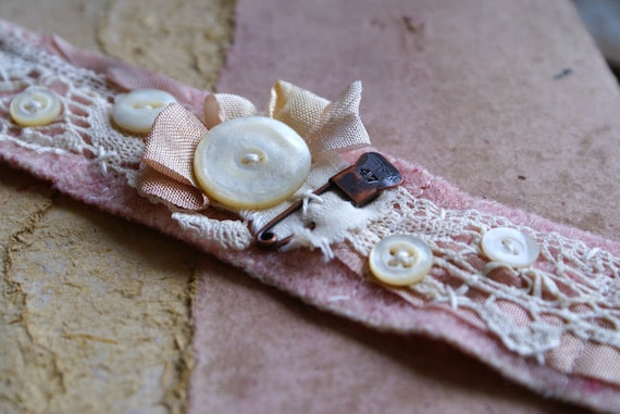 Mixed Media Wool Felt Bracelet with Pin Charm, Buttons, and Lace -- Handmade in Ireland