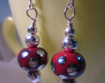Red with Silver Dots Earrings