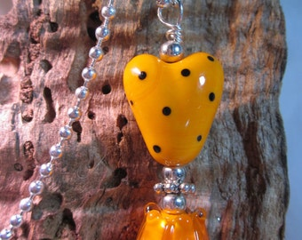 Orange Hearts and Flowers Necklace
