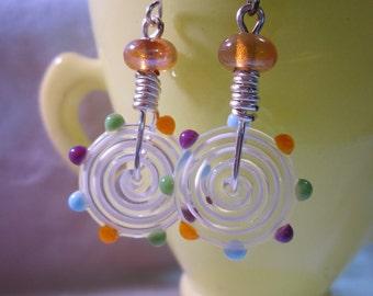 White Disc Rainbow Dotted Metallic Bead Earrings