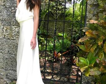 Hemp dress, White Tara Wedding Dress. Light organic Hemp/cotton jersey knit, Made to order-organic hemp clothing
