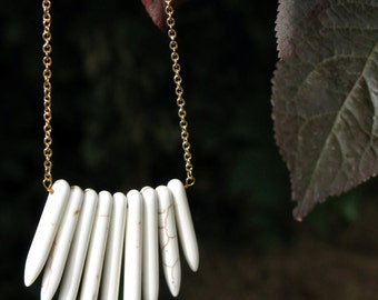 Spears howlite pointed necklace white bone natural jewelry