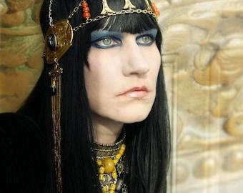 Queen Nefertari Neo Egyptian Timeless Beauty Tiara Crown Headdress Head Chain