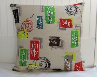1/3 Off Original Price Mad Men Barkcloth Pillow 50's Cushion Eames Botanic Mod
