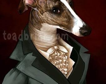 Handsome Regency Whippet Gentleman Print