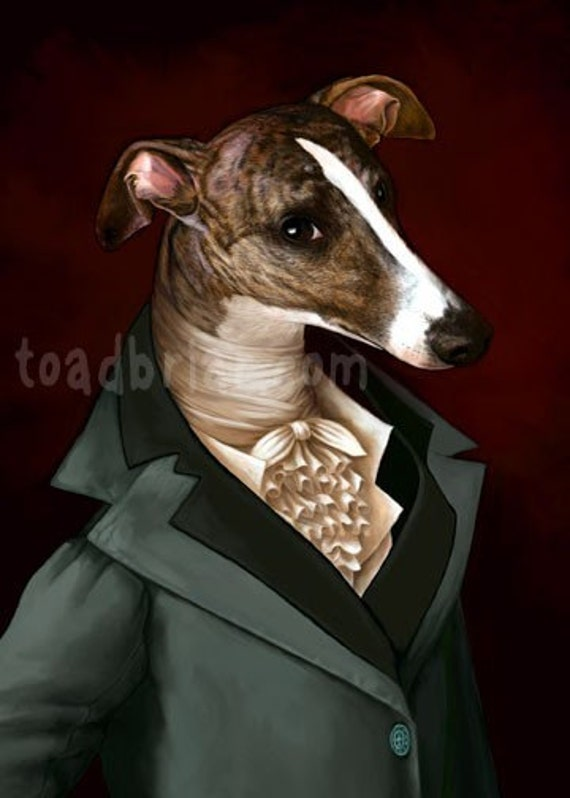 Handsome Regency Whippet Gentleman Print