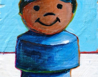 Fisher Price Little People Boy. Original Painting