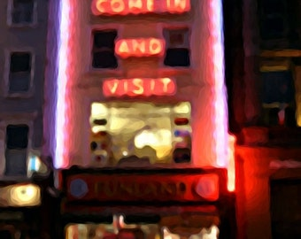 Come in and Visit, colour photograph amusement arcade Dublin Ireland O'Connell Street