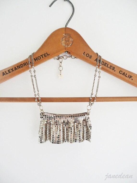 SALE - Golden Curtain Necklace - vintage metal mesh pendant