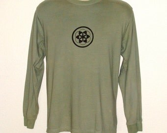 Organic shirts - Long Sleeved Mens Organic Cotton T shirt Hand dyed  with Seed of LIfe Print- Sacred geometry