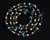 extra long beaded necklace with olive jade, wood, nut and glass beads