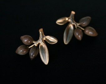 gold plated leaf stud earrings with natural Job's tears seeds - organic floral jewelry - sterling silver posts - gift for nature lover