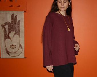 organic hemp clothing - long sleeve sweatshirt - 100% hemp and organic cotton - custom made to order - hand dyed - unisex