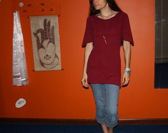 organic clothing - short sleeve mini dress - 100% hemp and organic cotton - custom made order - hand dyed